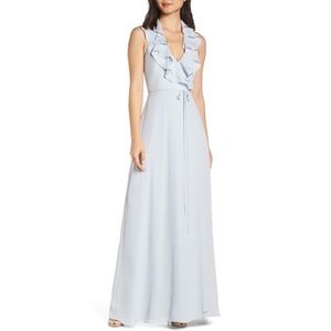 WAYF The Riley Ruffle Neck Wrap Gown Open Tie Back